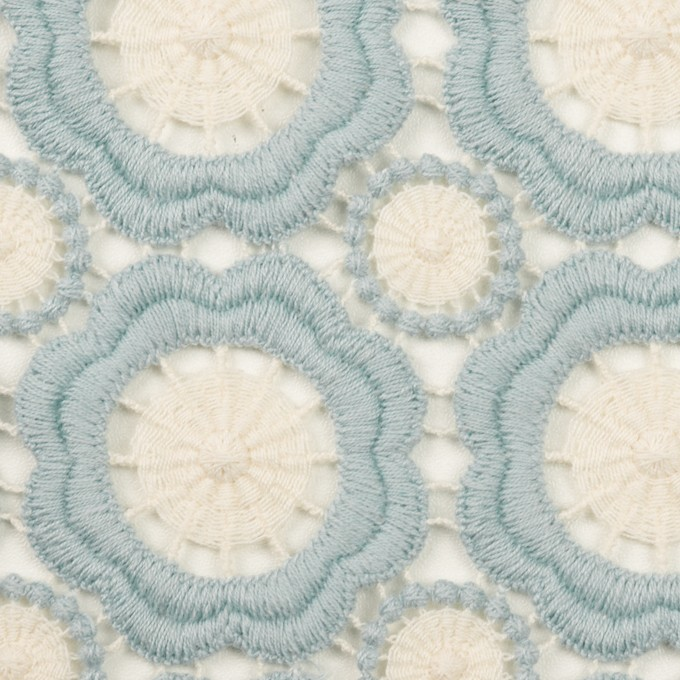 コットン×フラワー(ペールブルー&エクリュ)×ケミカルレース イメージ1