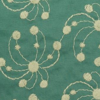 コットン×幾何学模様(エメラルドグリーン&アトモスグリーン)×ローン刺繍_全2色