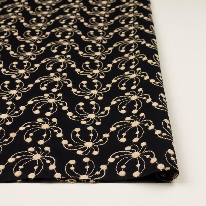 コットン×幾何学模様(ブラック&ライトベージュ)×ローン刺繍_全2色 イメージ3
