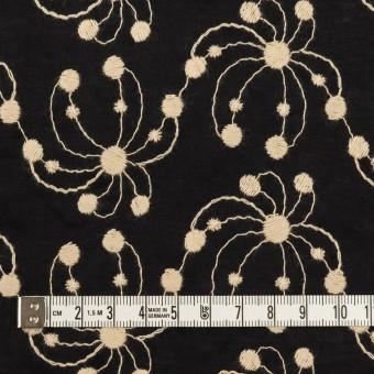 コットン×幾何学模様(ブラック&ライトベージュ)×ローン刺繍_全2色 サムネイル4