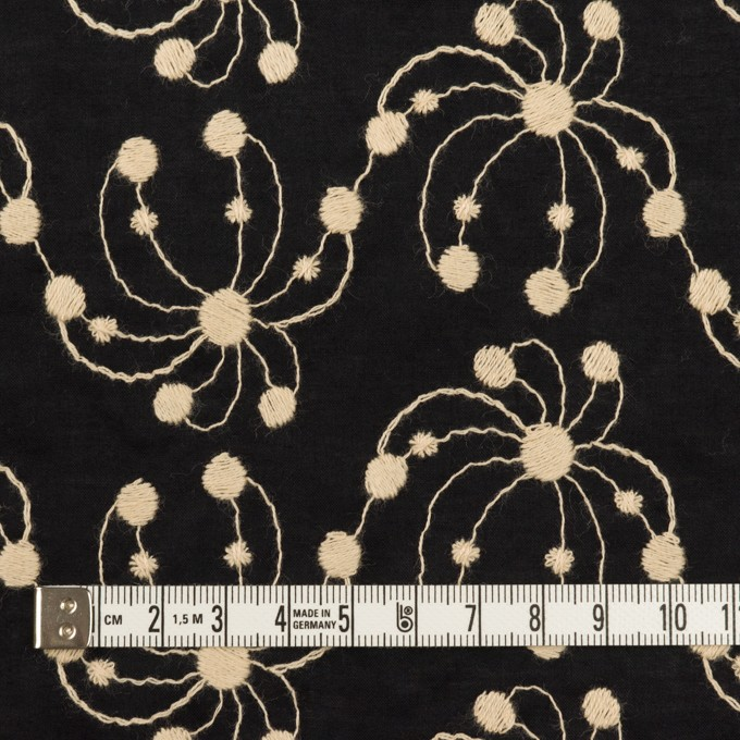 コットン×幾何学模様(ブラック&ライトベージュ)×ローン刺繍_全2色 イメージ4