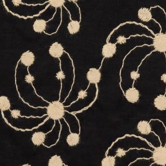 コットン×幾何学模様(ブラック&ライトベージュ)×ローン刺繍_全2色