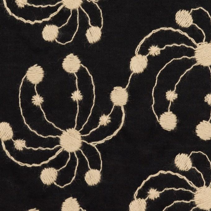 コットン×幾何学模様(ブラック&ライトベージュ)×ローン刺繍_全2色 イメージ1