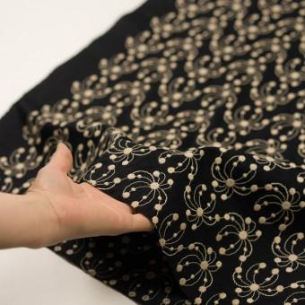 コットン×幾何学模様(ブラック&ライトベージュ)×ローン刺繍_全2色 サムネイル5