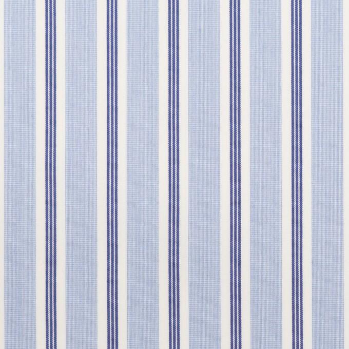コットン&ポリエステル×ストライプ(ライトブルー&ネイビー)×ローン イメージ1