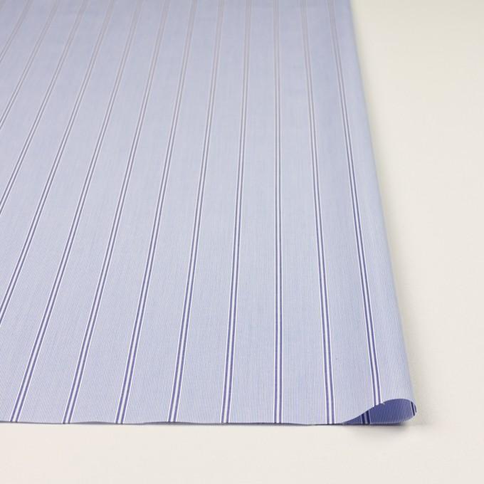 コットン&ポリエステル混×ストライプ(ブルー&ネイビー)×ローンストレッチ イメージ3