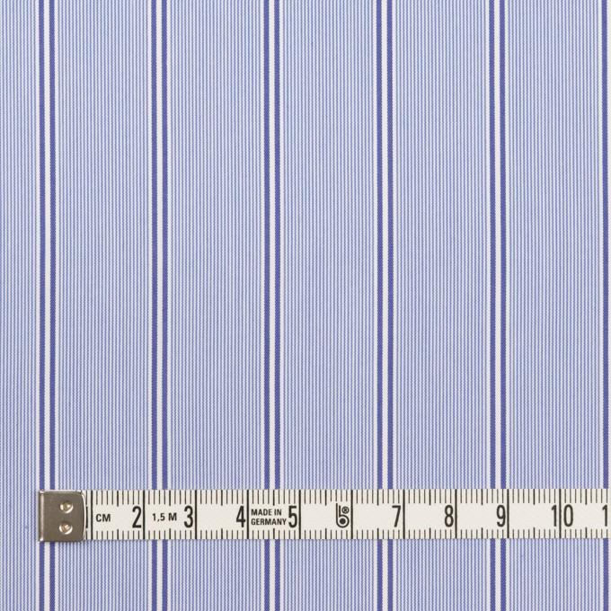 コットン&ポリエステル混×ストライプ(ブルー&ネイビー)×ローンストレッチ イメージ4