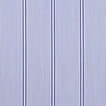 コットン&ポリエステル混×ストライプ(ブルー&ネイビー)×ローンストレッチ