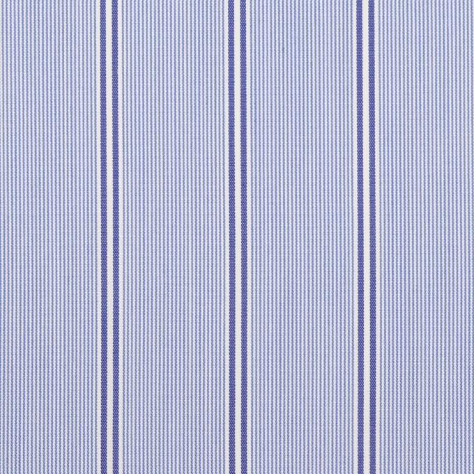 コットン&ポリエステル混×ストライプ(ブルー&ネイビー)×ローンストレッチ イメージ1