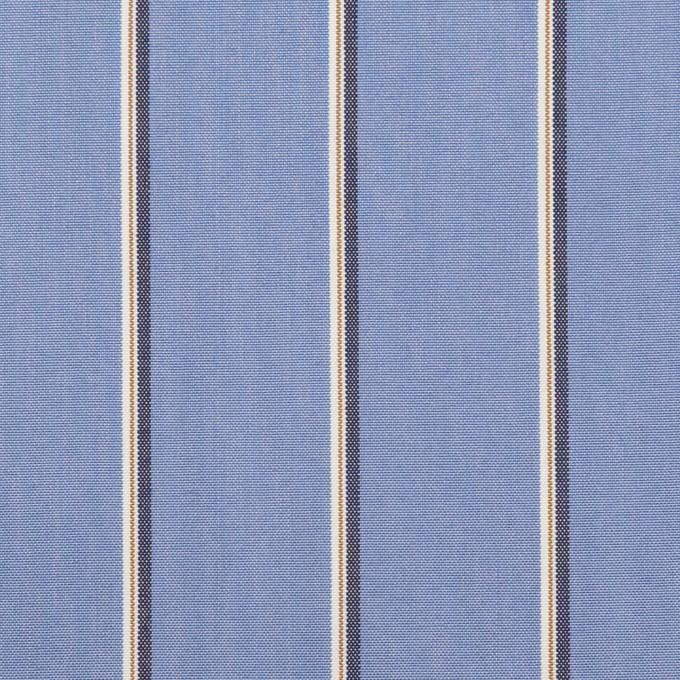コットン&ポリエステル×ストライプ(ヒヤシンスブルー、モカ&チャコール)×ブロード イメージ1