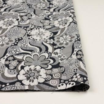 ポリエステル&コットン×フラワー(グレー&ブラック)×風通織(二重織) サムネイル3