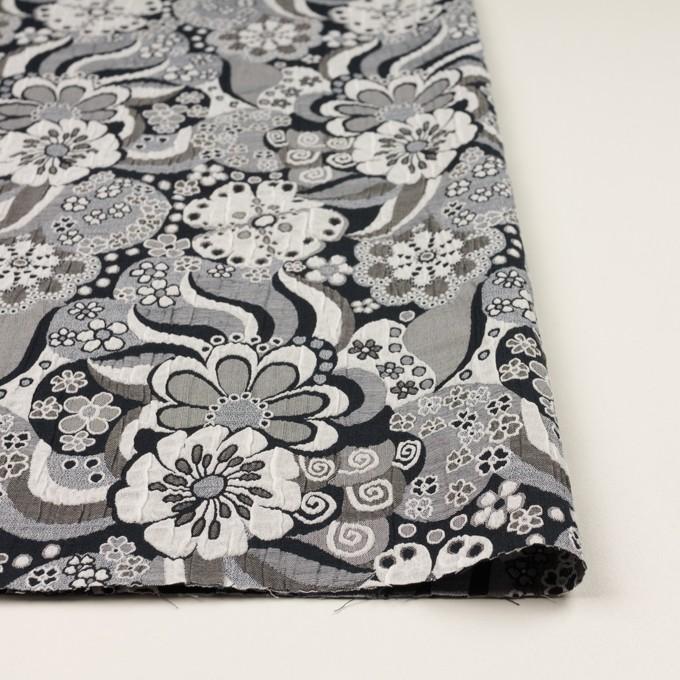 ポリエステル&コットン×フラワー(グレー&ブラック)×風通織(二重織) イメージ3