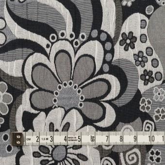 ポリエステル&コットン×フラワー(グレー&ブラック)×風通織(二重織) サムネイル4