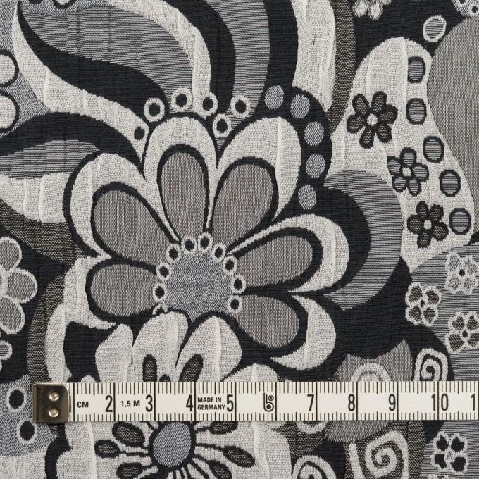 ポリエステル&コットン×フラワー(グレー&ブラック)×風通織(二重織) イメージ4
