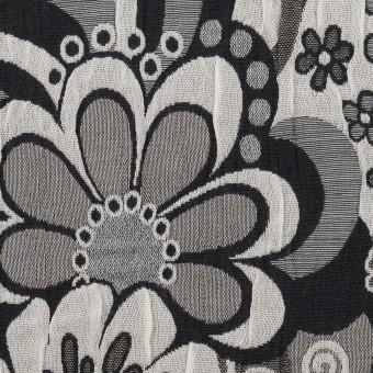 ポリエステル&コットン×フラワー(グレー&ブラック)×風通織(二重織)