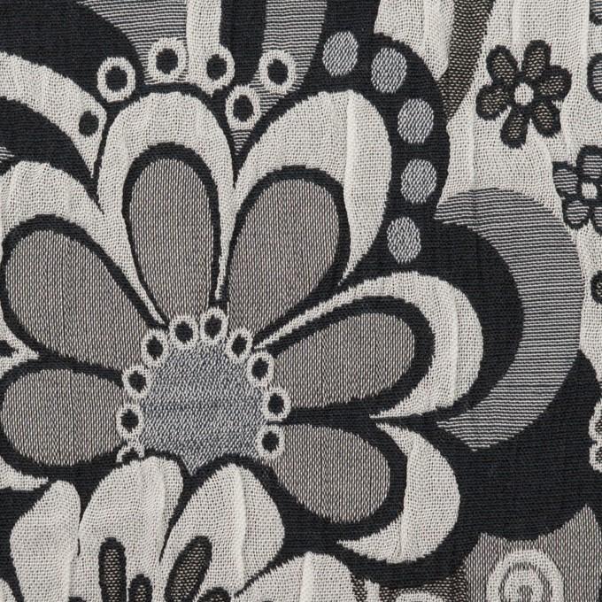 ポリエステル&コットン×フラワー(グレー&ブラック)×風通織(二重織) イメージ1