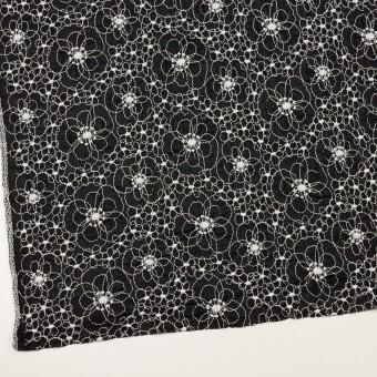 コットン×フラワー(ブラック&オフホワイト)×ボイルシャーリング刺繍_全3色 サムネイル2