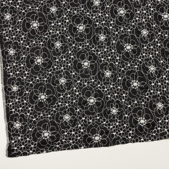 コットン×フラワー(ブラック&オフホワイト)×ボイルシャーリング刺繍_全3色 イメージ2