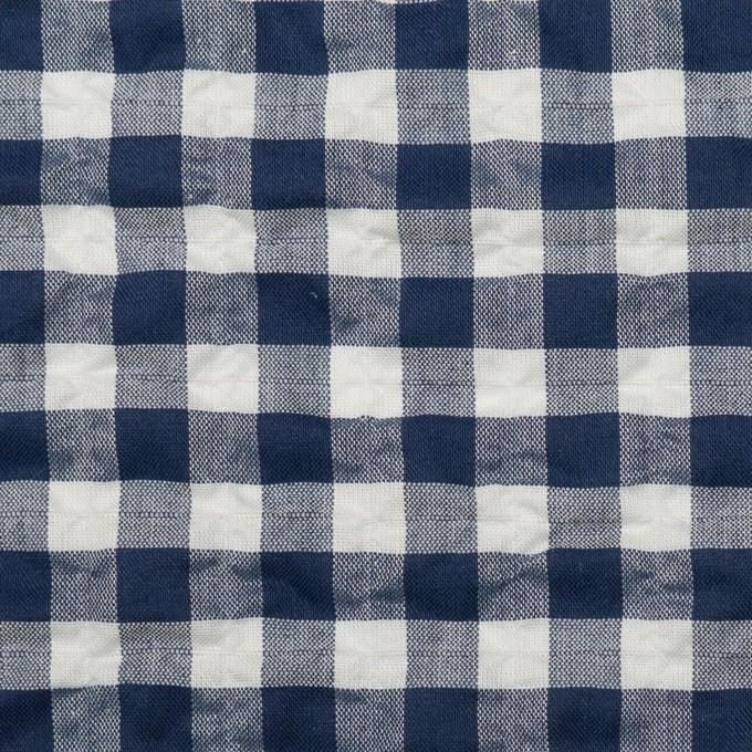 コットン&ポリエステル混×チェック(ネイビー)×ローンシャーリング_全2色 イメージ1