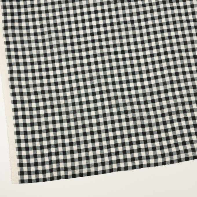 コットン×チェック(エクリュ&ブラック)×ローンワッシャー イメージ2