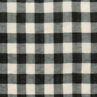 コットン×チェック(エクリュ&ブラック)×ローンワッシャー サムネイル1