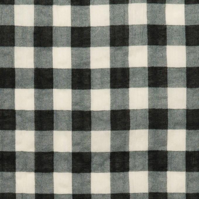 コットン×チェック(エクリュ&ブラック)×ローンワッシャー イメージ1
