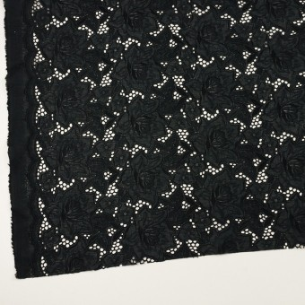コットン×フラワー(ブラック)×ローン刺繍 サムネイル2