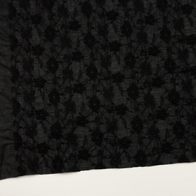 コットン×フラワー(ブラック)×ボイルシャーリング刺繍_全2色 イメージ2