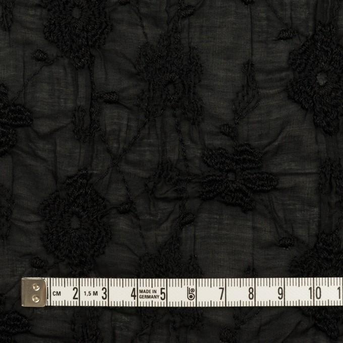 コットン×フラワー(ブラック)×ボイルシャーリング刺繍_全2色 イメージ4