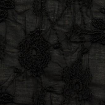 コットン×フラワー(ブラック)×ボイルシャーリング刺繍_全2色