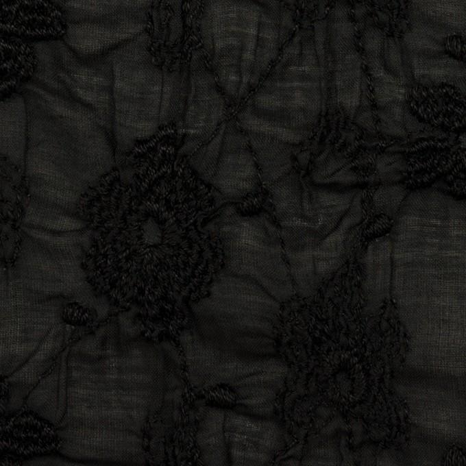 コットン×フラワー(ブラック)×ボイルシャーリング刺繍_全2色 イメージ1