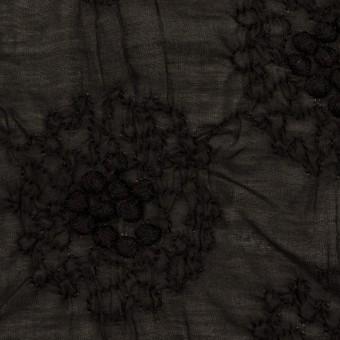 コットン×サークル(ブラック)×ボイルシャーリング刺繍