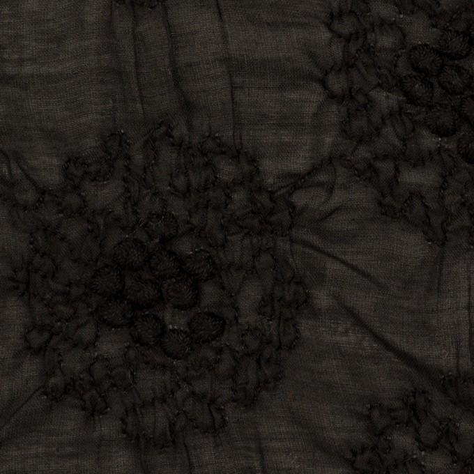 コットン×サークル(ブラック)×ボイルシャーリング刺繍 イメージ1