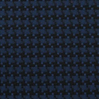 コットン&ポリエステル×千鳥格子(マリンブルー&ブラック)×ジャガード