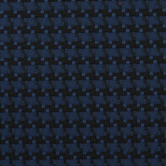 コットン&ポリエステル×千鳥格子(マリンブルー&ブラック)×ジャガード イメージ1