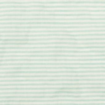コットン&テンセル混×ボーダー(エメラルドグリーン)×ボイルシャーリング_全2色