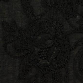 コットン×フラワー(ブラック)×ボイル刺繍