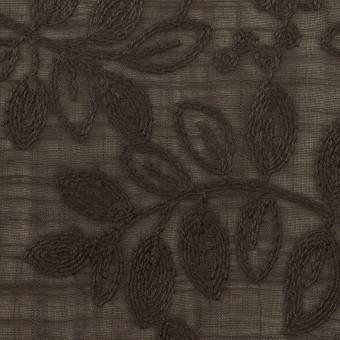 コットン×リーフ(アッシュブラウン)×スラブボイル刺繍