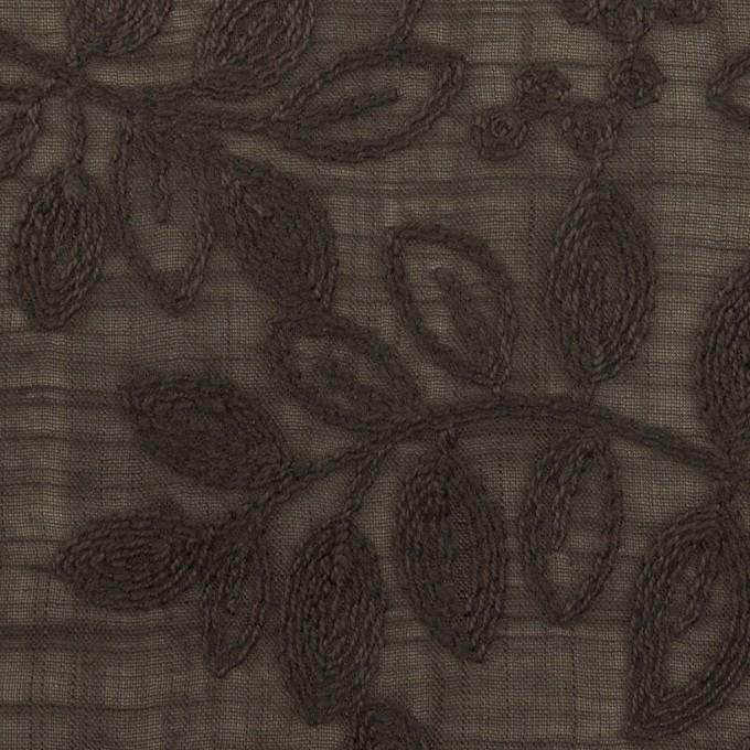 コットン×リーフ(アッシュブラウン)×スラブボイル刺繍 イメージ1