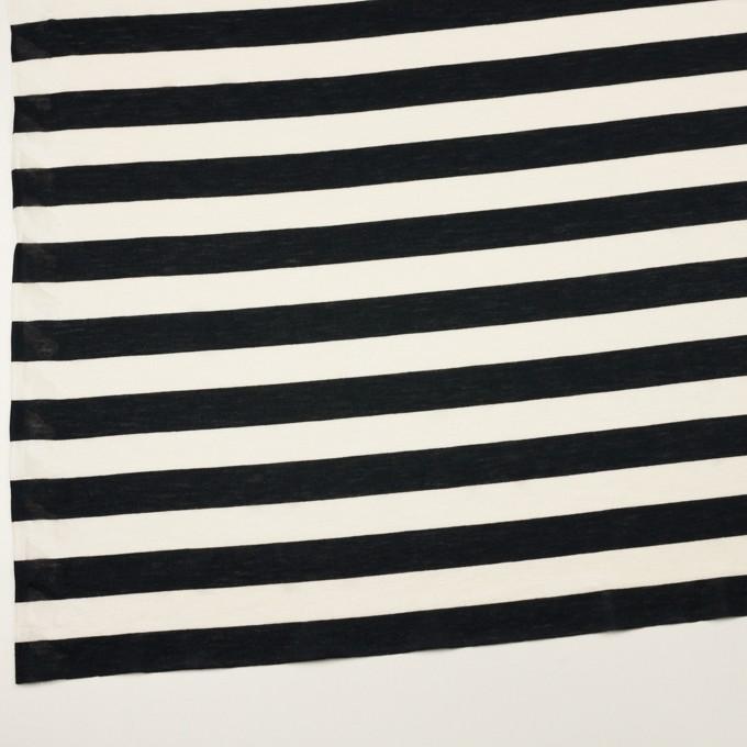 コットン&レーヨン×ボーダー(エクリュ&ブラック)×天竺ニット イメージ2