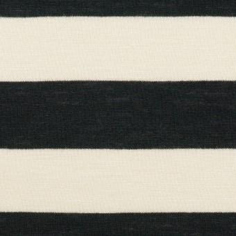 コットン&レーヨン×ボーダー(エクリュ&ブラック)×天竺ニット