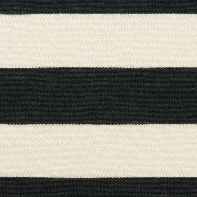 コットン&レーヨン×ボーダー(エクリュ&ブラック)×天竺ニット イメージ1