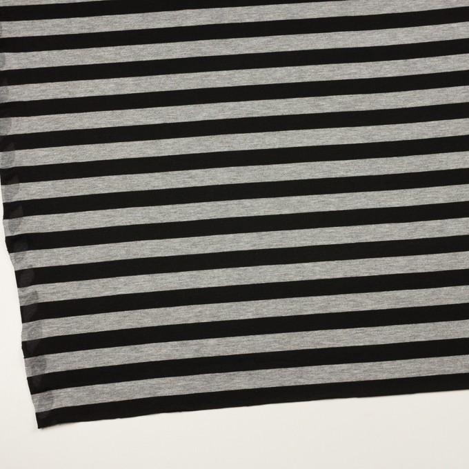 コットン×ボーダー(グレー&ブラック)×天竺ニット イメージ2