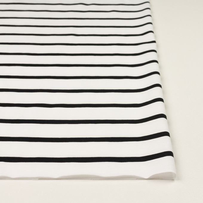 コットン×ボーダー(ホワイト&ブラック)×天竺ニット_全2色 イメージ3