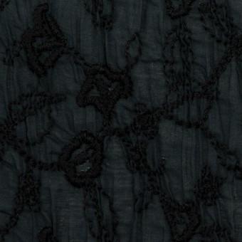 コットン×フラワー(インクブルー&ブラック)×ボイルシャーリング刺繍_全2色