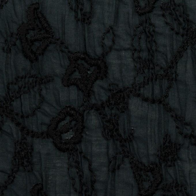 コットン×フラワー(インクブルー&ブラック)×ボイルシャーリング刺繍_全2色 イメージ1