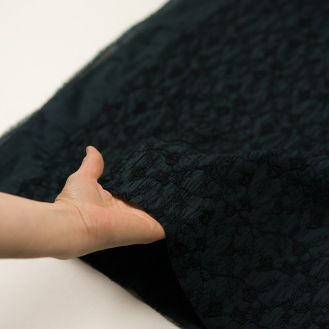 コットン×フラワー(インクブルー&ブラック)×ボイルシャーリング刺繍_全2色 イメージ5