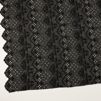コットン×フラワー(ブラック)×スラブボイル刺繍_全2色 サムネイル2
