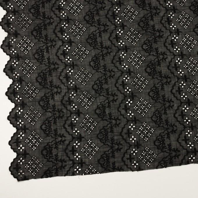 コットン×フラワー(ブラック)×スラブボイル刺繍_全2色 イメージ2