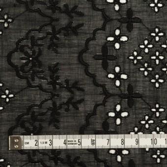コットン×フラワー(ブラック)×スラブボイル刺繍_全2色 サムネイル4